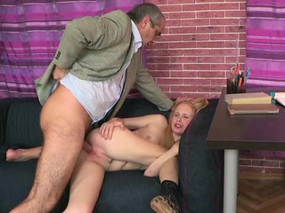 Horny old teacher is pounding chick's twat tenaciously