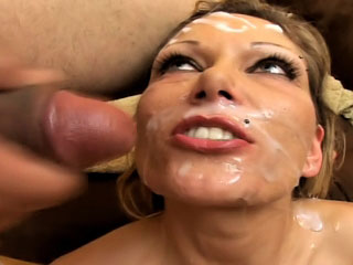 Thursty horny girl got dozen cumshots on her attractive face