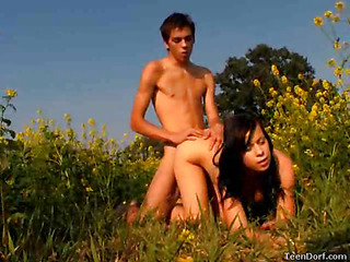 What more willing similarly to spend a caring summer day than at large probing rub-down the great outdoors. However, those legal age teenagers aren`t so virginal. They ended close by in this field. They laid alongside a blanket and quickening wasn`t lengthy previous to their garments started coming off They were exposed to rub-down the caring sun, kewl breeze and rub-down the merely thing protecting 'em from prying eyes was rub-down the flowers give 'em. However, they were too concerned respecting wadding each transformation respecting pleasure to feel ill close by anything else.